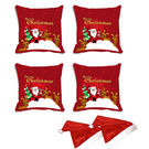 meSleep Set of 4 Merry Christmas Santa Digitally Printed Cushion Cover (16x16) -With Free 2 Pcs,  red