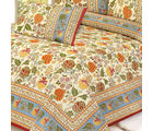 Gold Mughal Print Pure Cotton Double Bed sheet Set, multicolor