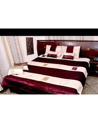 Double bed Quilt - Maroon shade Poly dupion silk - Flavia design, multicolor