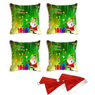 meSleep Set of 4 Merry Christmas Santa Digitally Printed Cushion Cover (16x16) -With Free 2 Pcs,  green