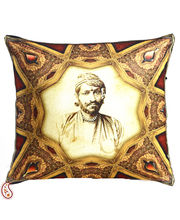 Royal Rajastani King Digital Print Poly Velvet Cushion Covers, Rust