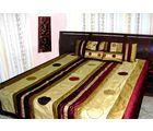 Double bed Quilt - Maroon shade Poly dupion silk - circle design, multicolor