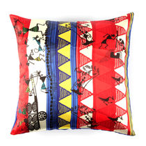 The Elephant Company Cushion Cover Cart Warli,  red