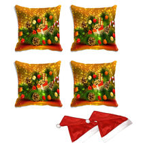 meSleep Set of 4 Christmas Digitally Printed Cushion Cover (16x16) -With Free 2 Pcs, multicolor