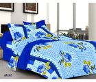 Welhouse India Rose Double Bed Sheet With 2 Pillow Covers, blue