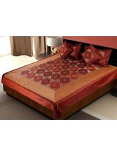 Little India 5 Piece Red Silk Bedcover Cushion N P...