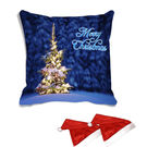 meSleep Merry Christmas Tree Digitally Printed Cushion Cover (16x16) - With 2 Pcs,  blue