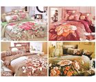 4 Corals Double Bedsheets With Pillow Covers, multicolor