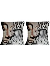 Digital Print Pair of Face with Flower Cushion Covers, cream