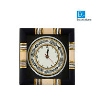 ExclusiveLane Warli Handpainted Clock 10* 10 Inch Black, multicolor