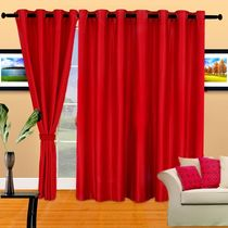 Cortina Plain Crush 7Ft Curtain,  red
