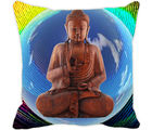 Leaf Designs Buddha Multi Colored Cushion Cover