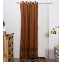 Rang Desi Brown Cotton 84 x 48 Inch Ethnic Door Curtain -,  brown