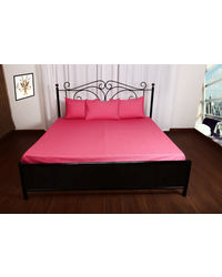 Threads and Beds 1 Double bedsheet with 2 pillow Covers,  pink