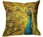 Me Sleep Cushion Covers Painted Dancing Peacock (With Cushion) (Multicolor)