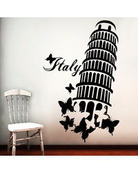 Creative Width Leaning Tower Wall Decal, multicolor, large