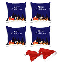 meSleep Set of 4 Merry Christmas Digitally Printed Cushion Cover (16x16) -With Free 2 Pcs, multicolor