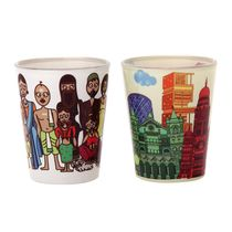 The Elephant Company Sets India Family & Mumbai Skyline Shot Glasses, white