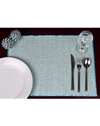 Rope Premium Talipot Table Mats - Blue - Set Of Six, blue