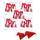 meSleep Set of 5 Christmas Digitally Printed Cushion Cover (16x16) -With 2 Pcs,  red