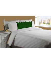 meSleep White 230Tc Satin Stripe Bed Sheet with 5 pc Green Velvet cushion covers.,  green