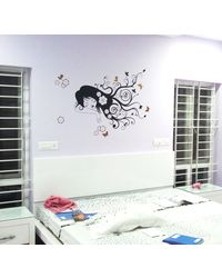 Cute Girl Dreaming - Wall Decal, multicolor