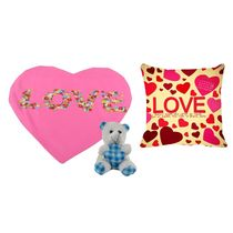 meSleep Pink Valentine Heart Shape Cushion, Teddy and Cushion,  pink
