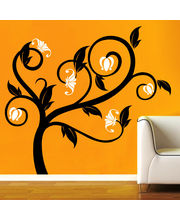Creative Width Flowers On Tree Wall Decal, Multicolor, Small