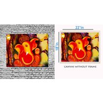 meSleep Canvas painting without frame - Ganesha,  orange