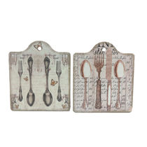 Importwala Vintage Cuttlery Ceramic Trivets Wall Hanging Set Of 2, multicolor