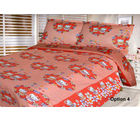 HandloomTrendz Kitty Cartoon Print Kids Double Bed Sheet (DBSKittyPeach), peach