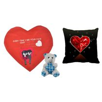 meSleep Red & Black Valentine Heart Shape Cushion, Teddy and Cushion,  red