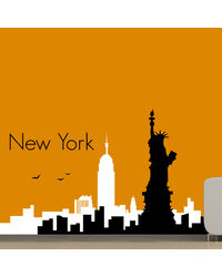 Creative Width City Of New York Wall Decal, multicolor, small