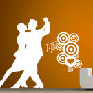 Creative Width Dancing Couple 2 Wall Decal, multicolor, medium