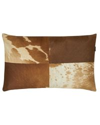 SWHF Leather Cushion Cover, tan and white