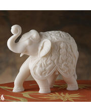 Hand Carved Pure White Marble Royal Elephant (White)