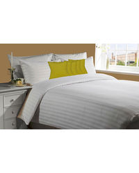 meSleep White 230Tc Satin Stripe Bed Sheet with 5 pc Yellow Velvet cushion covers.,  yellow