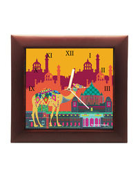 The Elephant Company Square Clock Indian Caravan,  orange