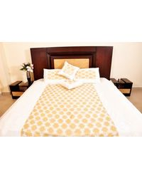 Banana Prints Set of Five Silk Sarover Bed Cover - BC_ 3015, multicolor