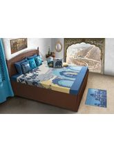 House This Darbaar 1 Double Bed Sheet & 2 Pillow Covers, blue