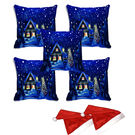 meSleep Set of 5 Merry Christmas House Digitally Printed Cushion Cover (16x16) -With 2 Pcs,  blue