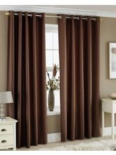 La Elite Eyelet Plain Door Curtain - 1 Pc, Brown