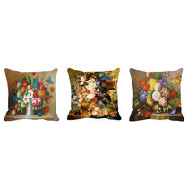 meSleep Flowers Vases Digitally Printed Cushion Cover -3PC Combo,  brown