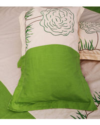 Lullabies Go Green Beautiful Tree & Grass Emroidery bedsheet for Kids LLB17, multicolor
