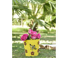 Height Of Designs Handpainted Planter With Bee & Flower Metal Patch, yellow