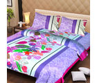La Elite pure Thick Cotton Colorful Leaves Print Double Bed Sheet, multicolor