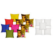 meSleep 5 Pc 3D Cushion Covers and 5 Pc Quilted Stripe Cushion Covers and 5 Pc Filler, design5