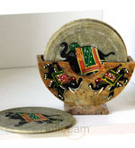 Hand-painted marble coaster set (Multicolor)