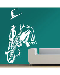 Creative Width Saxophone Player Wall Decal, multicolor, small