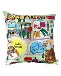 The Elephant Company Cushion Cover Bengaluru Map,  green
